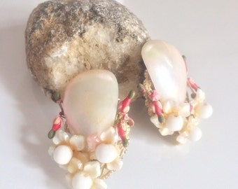 30s Early Haskell Earrings, hand wired bead shell earrings, unsigned Miriam Haskell, Bridal Jewelry