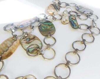 Vintage Southwestern Abalone Shell Belt, Silver Hoop Link Boho Chic Vintage Belt or Abalone Necklace
