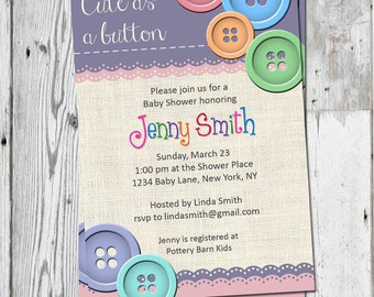 Cute as a Button Invitation | Cute as a Button Baby Shower | Printable File | Purple Pink Orange Blue Green