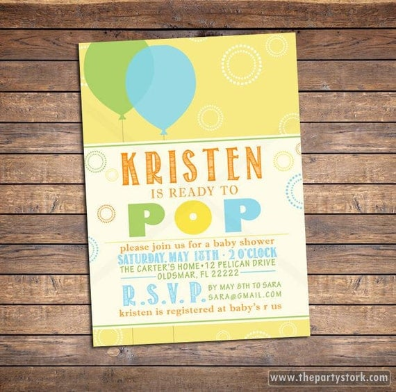 She's About to Pop Baby Shower Invitation, printable gender neutral ...