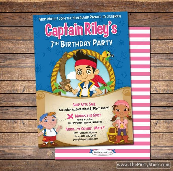 Jake And The Neverland Pirates Invitations Printable Girls