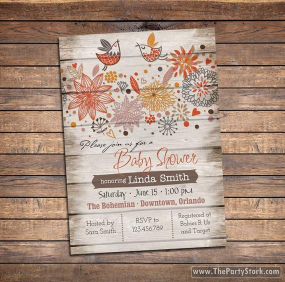 rustic baby shower invites
