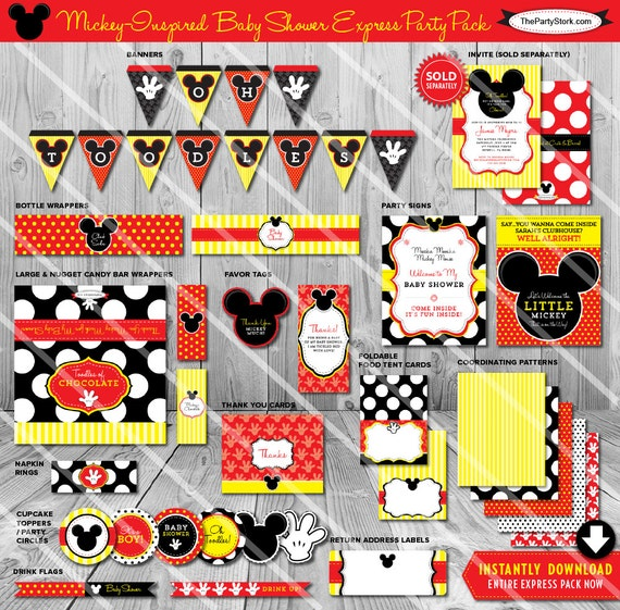 Mickey Mouse Baby Shower Decorations Printable By Thepartystork