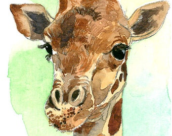ACEO Limited Edition 7/25- It's A Giraffe!, Art print of an ORIGINAL ACEO watercolor painting, Gift for animal lovers, Housewarming gift