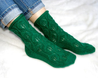 Green leaf socks - washable wool socks