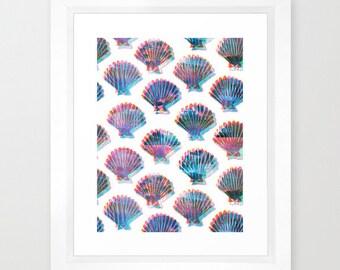 SHELLY (Seashell Pattern) Art Print, beach, Ocean by SchatziBrown