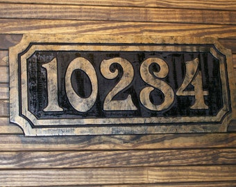 Large Address Numbers Sign Antique Brass Finished Wood Custom Carved Plaque