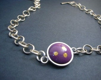Beautiful Enamel Gold Foil Sterling Silver Chain
