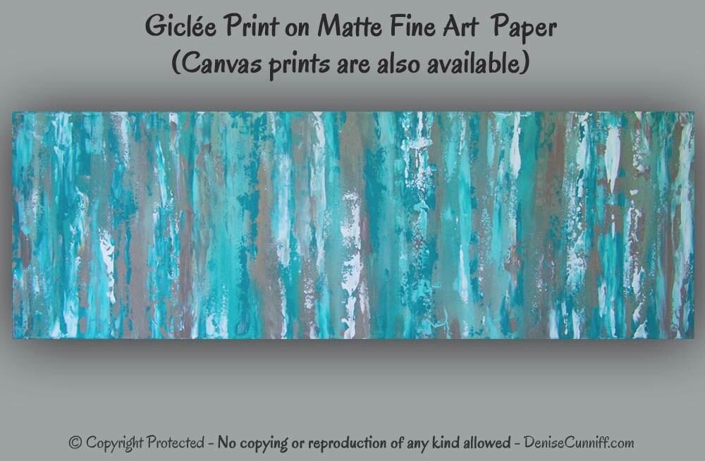 Turquoise Teal Wall Decor : Teal abstract art print aqua wall blue brown artwork