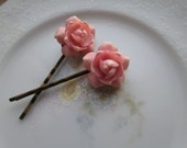 Repurposed / Upcycled Vintage Pink Rose Seashell Flower Bobby Pins / Antique Bronze Hair Pins / Hair Accessory, OOAK Art, Spring Summer Fun