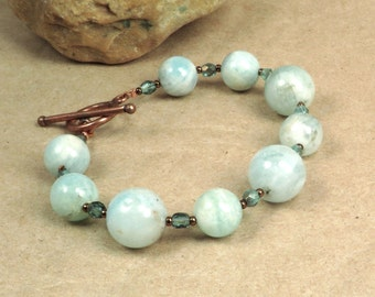 Aquamarine Bracelet - Throat Chakra - March Birthstone - Honest Communication - Reiki Infused Jewelry