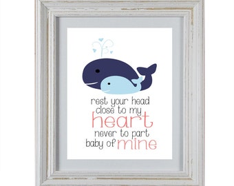 Nursery Art DIY Printable- Whale Rest Your Head Close To My Heart Wall Art- Blue and Coral