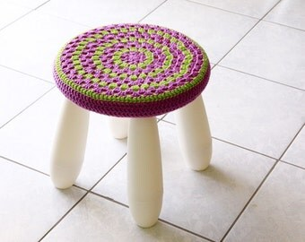 Stool cover nursery decor, granny stool cover, mandala stool cover, purple and green stool cover for IKEA Mammut Stool, cover only