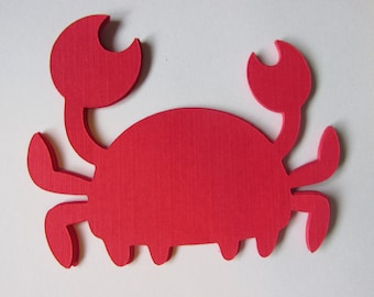 10 Crab die cuts, crab embellishments, Crab gift tags