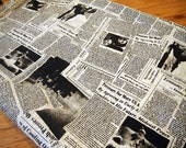 4 Yard - Cotton Blend Newspaper Print Fabric (FREE SHIPPING)