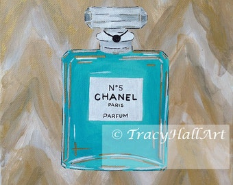 Chanel Perfume Art Painting PRINT Chanel No. 5 Perfume Bottle Chevron Ikat Aqua Gold from original painting by Tracy Hall