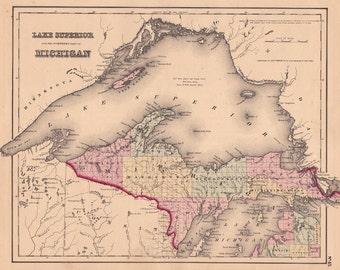 1855 Map of Lake Superior and Michigan's Upper Peninsula (FREE SHIPPING)