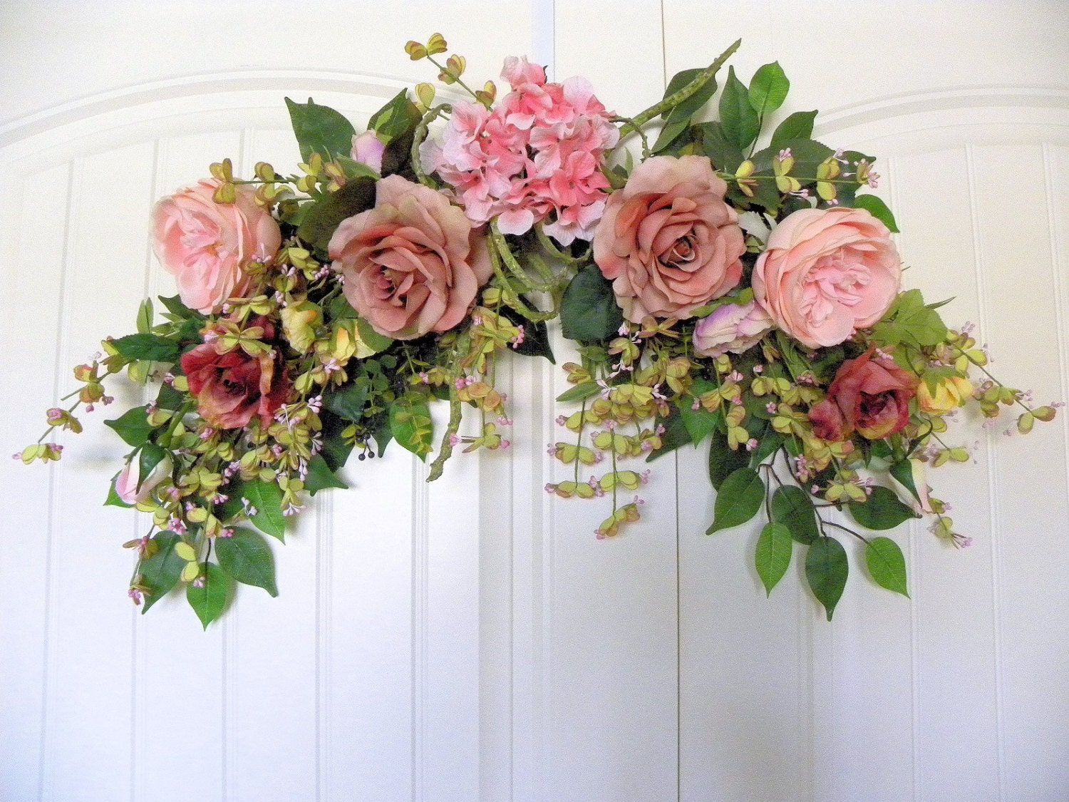 Antique Pink Rose Arch Floral Design Swag