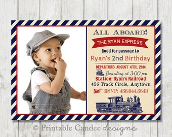 Vintage Train Birthday Invitation  - Train Birthday - Train Invitation - Train Party - Rustic Train Birthday - Printable Train Invitation
