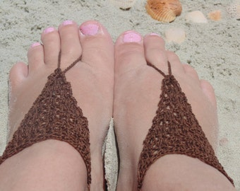 Sandals, Barefoot Sandals, Womens Brown Crochet Barefoot Sandals Style 6