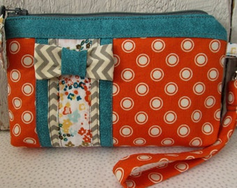 Modern Orange White  Polka Dot Grey Chevron Teal Fabric Bow Tie  Zippered Pouch Credit Card Pockets Wristlet