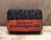Tin Box, Hardware Tin, Tool Tin, Great Graphics, Industrial, Storage, Tin Boxes, Vintage, 1940s, Salvage, Recycle, Reuse, All Vintage Man