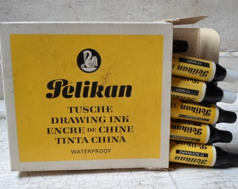 Drawing Ink, Vintage, Office Supplies, Pelikan, Orig Box, Drafting, Drawing, Calligraphy,Prop, Props, Office Props, All Vintage Man