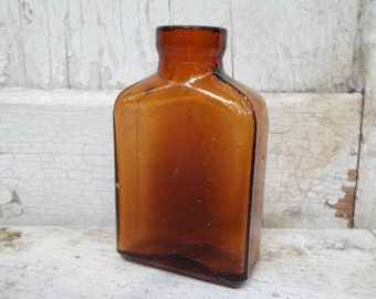 Old Glass Bottle, Amber Bottle, Small Bottle, Drugstore, Apothecary, Pharmacy, Quack Medicine, 1800s, Bottles, Shadowbox All Vintage Man, 23