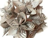 Book Paper Flower Bridal Bouquet with Wire Stems and White / Silver Ribbon