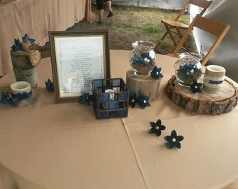 Shimmer Sapphire Blue & Glitter Gold Embellishments Paper Scatter / Center / Cake Table Flowers Kusudama
