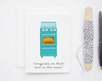 New Pregnancy Congratulations - Retro Stove - Bun in the Oven Blank Greeting Card