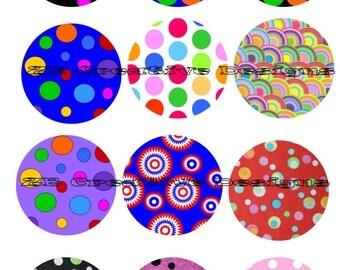 Instant download bottle cap images, 30mm Shapes dots bubbles