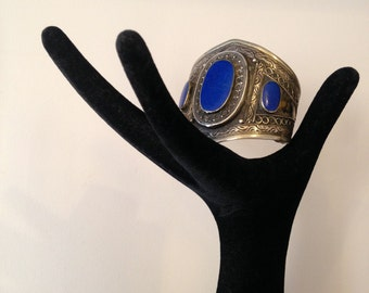 Vintage 1970's Silver and Brass Lapis Cuff /Tribal Cuff / Bedouin Tribal Braclet / 70's Bo Ho Hippie Jewelry