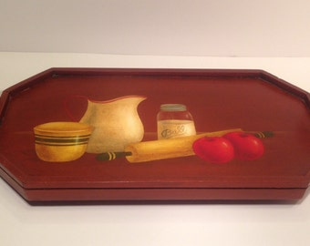 Hand Painted Wood Serving Tray