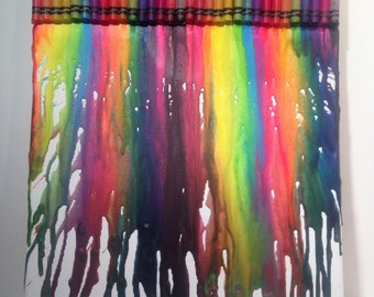 Rainbow Colors-Melted Crayon Art on 11 x 14 Stretched Canvas