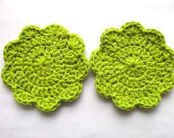 Coasters - Mug Rugs - Hand Crochet Cotton In Spring Green - Set of 2