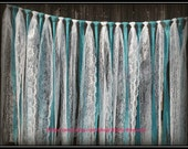 Turquoise Teal Jade blue burlap and white lace hanging garland, rag tie, Wedding decor, lace curtain, Rustic Charm barn wedding,shabby chic