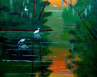 Egrets in the Sunset,