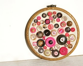 Embroidery Hoop Art, Upcycled Textile Vintage Button Art, Wall Decor, Chocolate Dipped Strawberry Creams, Brown And Pink Nursery Art