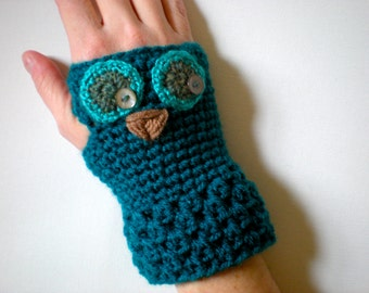 PATTERN:  Owl Gloves, Toddler, Kid, Adult Sizes, easy crochet fingerless mitts, mittens, pdf, InStaNT DowNLoaD, permission to sell