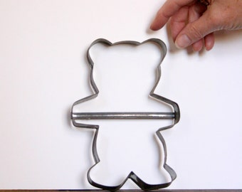 Vintage Teddy Bear Cookie Cutter, large metal, collectible, gift Idea