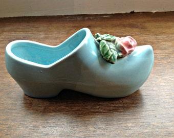 Vintage McCoy Blue Dutch Shoe with Rose, Planter, Home Decor, Collectible