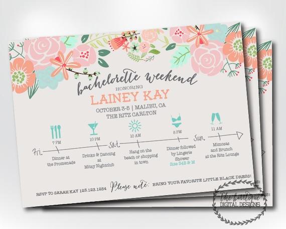Bachelorette Party Itinerary Invitation Bachelorette Weekend