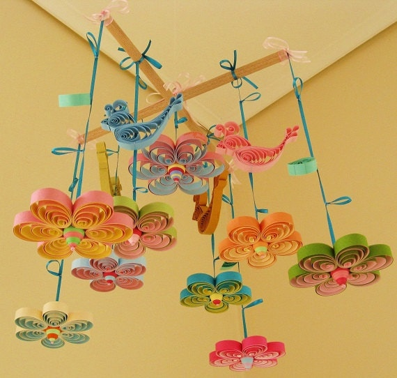 Baby mobile baby crib mobile quilling mobile birds for Baby cot decoration images
