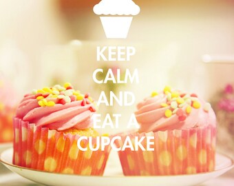 Keep calm decor vintage style photography, pink cupcakes and teacups, shabby chic style photography, muffin print vintage style wall art