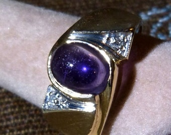 Vintage 1960's 14K Yellow Gold, Amethyst and Diamond Ring Sz. 9