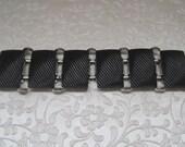 Vintage Jewelry Bracelet Marked CLAUDETTE Extremely Rare Black Silver Wide Link Bracelet Statement Piece 1950's Mid Century