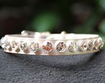 Platinum Pearl Dog Collar with Swarovski Crystals
