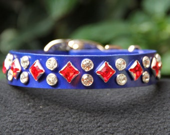 Sapphire Pearl Leather Dog Collar with Unique Crystals