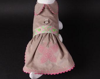 SAMPLE SALE:  Dog Dress -- Khaki Butterfly